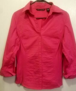 Pink Top/Blouse Button Up-Cuff Sleeves